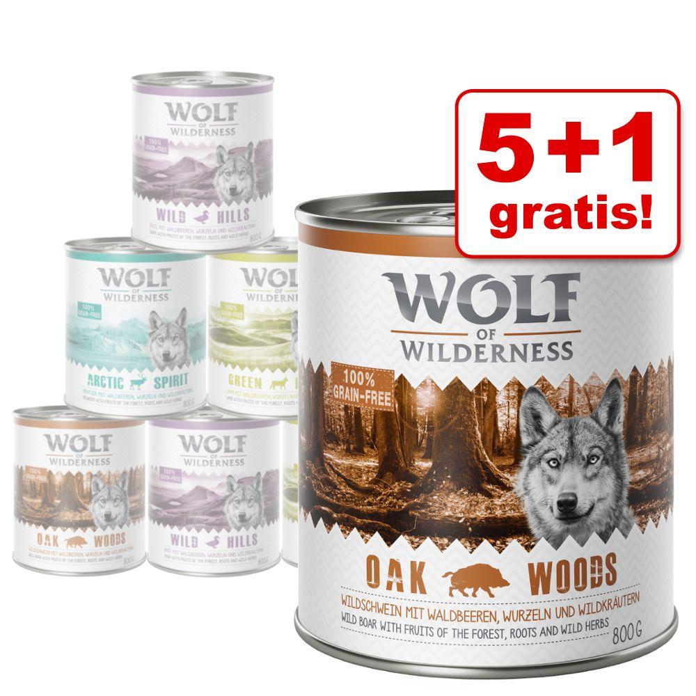 5 + 1 gratis! 6 x 800 g Wolf of Wilderness Adul...