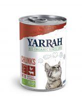 Yarrah biologisch kattenvoer chunks 405g Kip met brandnetel & tomaat in saus