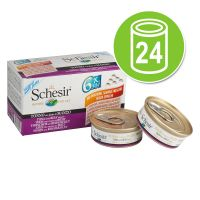 24 x 50 g Schesir Natural: Kip met Eend Small in Gelei of Natural Voordeelpakket Kattenvoer