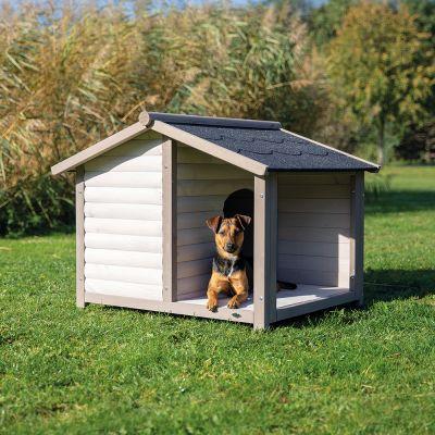 Trixie Natura Lodge -koirankoppi kuistilla - M/L-koko: L 130 x S 100 x K 105 cm, harmaa (2 pakettia*)