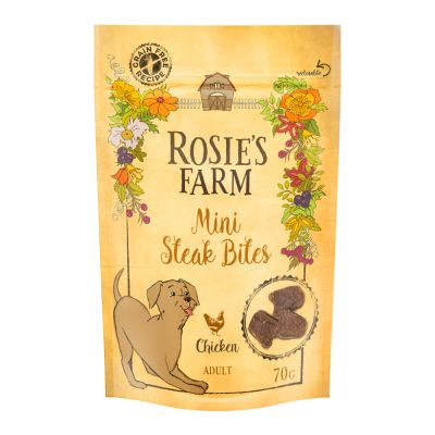 Rosie's Farm Snacks Mini Steak Bites, con pollo - 70 g