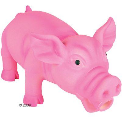 Latexgris hundleksak med originalljud – ca 15 cm, rosa