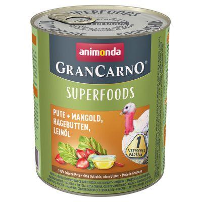 Animonda GranCarno Adult Superfoods 6 x 800 g - nauta + punajuuri, karhunvadelma, voikukka