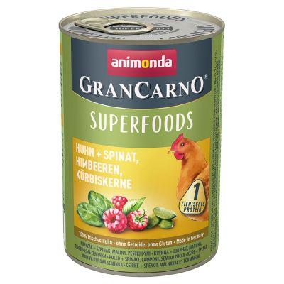 Image of Animonda GranCarno Adult Superfoods 24 x 400 g - Huhn + Spinat, Himbeeren, Kürbiskerne