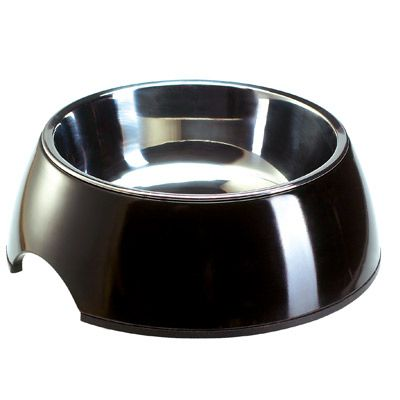 Melamin hundskål, svart med innerskål i rostfritt stål – 700 ml, 17,5 cm