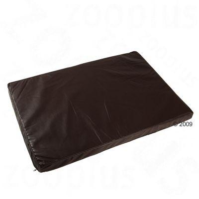 Wellness hundmadrass i läderimitat – mörkbrun – B 100 x D 70 x H 6 cm