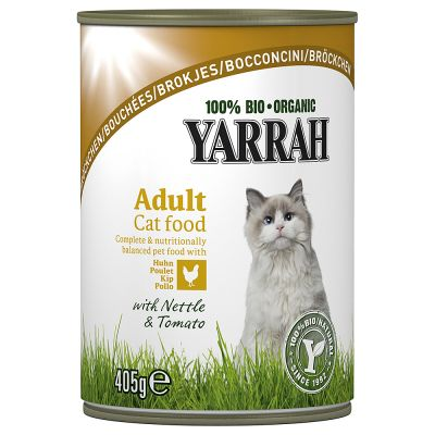 Yarrah - Yarrah Bio Brokjes Kattenvoer 6 x 405 g - Kip met Brandnetel & Tomaat in Saus