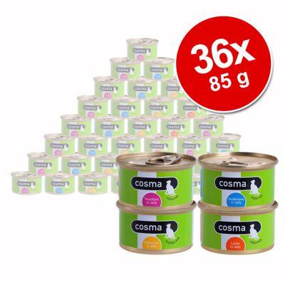 Cosma Original hyytelössä -säästöpakkaus 36 x 85 g - lajitelma: tonnikala + kana