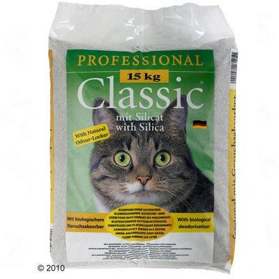 Ekonomipack: 2 x 15 kg Professional Classic kattsand - Classic kattsand med babypuderdoft (2 x 15 kg)