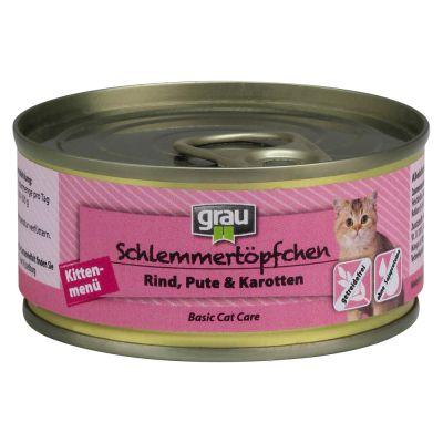 Grau Gourmet Kitten, nauta, kalkkuna & porkkana - 12 x 200 g