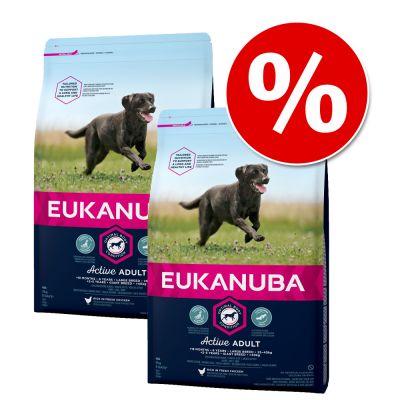 Eukanuba-säästöpakkaus - 2 x 12 kg Adult Large Breed Lamb & Rice