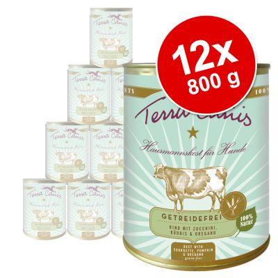 Terra Canis, viljaton -säästöpakkaus 12 x 800 g – kani, kesäkurpitsa, aprikoosi & purasruoho