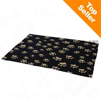 Barney fleecetäcke – L 150 x B 100, svart med beige tassavtryck
