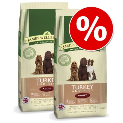 James Wellbeloved -säästöpakkaus - 2 x 15 kg Adult Complete Turkey & Rice
