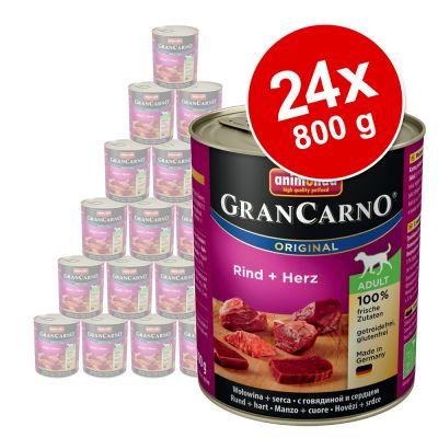 Animonda GranCarno Original Adult -säästöpakkaus 24 x 800 g - nauta & ankansydän