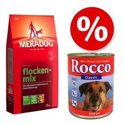 Meradogpremium  - Voordeelpakket Meradog Vlokkenmix Hond + 6 x Rocco Classic - Rund met Kalfsharten(6 x 400 g )