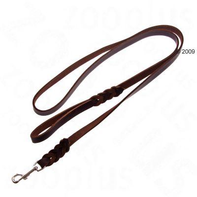 Heim-nahkahihna, punomalla kiinnitetty karbiinihaka, ruskea - pituus 200 cm, leveys 1,80 cm