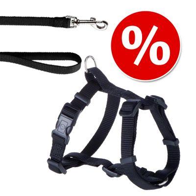 HUNTER-setti: valjaat + Ecco Sport Vario Rapid -talutushihna, musta - valjaat S-M + talutushihna 200 cm