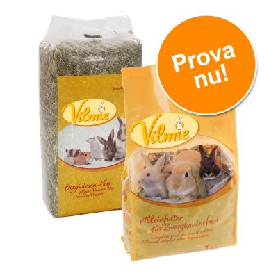 Provpack: Vilmie ängshö + gnagarfoder! – 2,5 kg hö + 1 kg marsvinsfoder