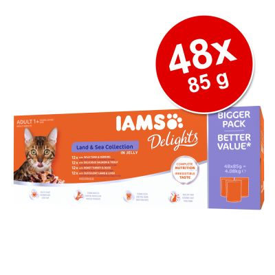 IAMS Delights Adult Land & Sea 48 x 85 g - in Sauce