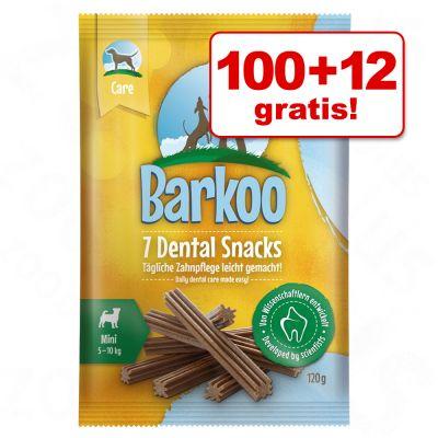 100 12 gratis! Barkoo Dental snacks voor grote honden (112 stuks)