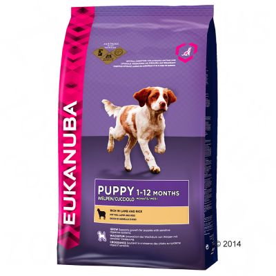 eukanuba-puppy-small-medium-breed-lam-ris-okonomipakke-2-x-12-kg