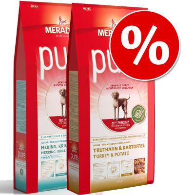 Meradog Pure Grain-Free -säästösekoitus 2 x 12,5 kg erikoishintaan! - Fresh Meat Chicken & Potato + Herring, Krill & Potato
