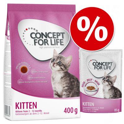 Kitten-paketti: 400 g kuivaruokaa + 12 x 85 g märkäruokaa - in Jelly -märkäruoka