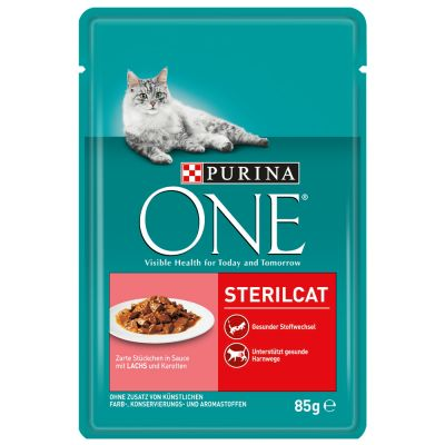 Purina One Sterilised - 24 x 85 g lohi & porkkana