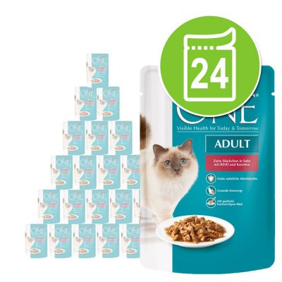 Purina One märkäruoat 24 x 85 g - Sensitive, kana & porkkana