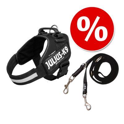 Setti: JULIUS-K9®-Power -valjaat - musta + Julius-K9 -tuplatalutushihna, kumipintainen - valjaskoko Baby 1 + talutushihna 220 cm (alle 20 kg)