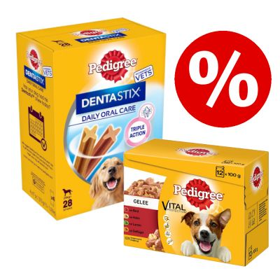 96 x 100 g Pedigree Pouch -mix + 28 kpl Dentastix Large erikoishintaan! - Adult in Jelly