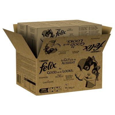 Jumbopack: 80 x 100 g Felix  - tuňák, losos, treska, treska tmavá