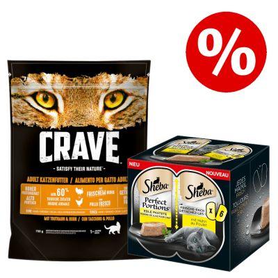 750 g Crave kissanruoka + 6 x 37,5 g Sheba Perfect Portions erikoishintaan! - Turkey & Chicken + Perfect Portions: kana