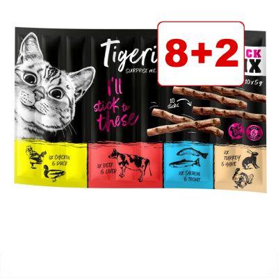 10 x 5 g Tigeria Sticks: 8 + 2 kaupan päälle! - lohi & taimen