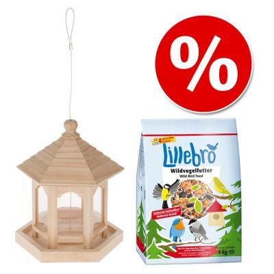 Paketti: ruokintateline + 4 kg Lillebro-linnunruokaa - 2-osainen setti