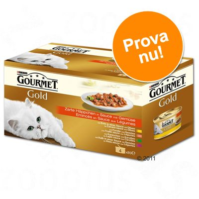 Gourmet Gold Selection 4 sorter, 4 x 85 g – Bitar i sås