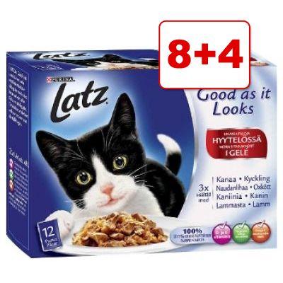 Latz kissanruoka 12 x 100 g: 8 + 4 pussia kaupan päälle! - vihanneslajitelma (Doubly Delicious hyytelössä)