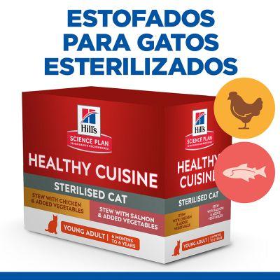 Hill's Young Adult Sterilised Healthy Cuisine con pollo y salmón para gatos - 16 x 80 g