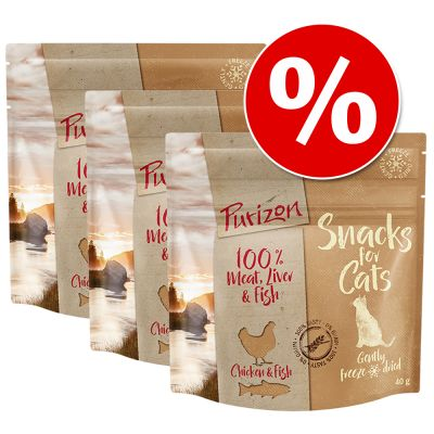 Purizon Snack -säästöpakkaus 3 x 40 g - kala & nauta