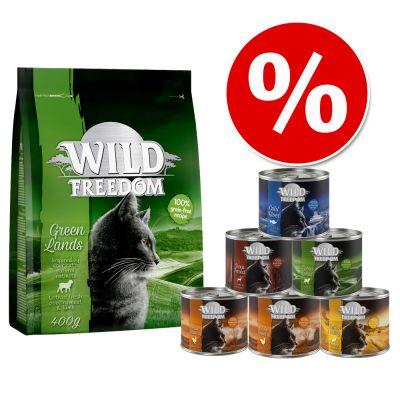 Wild Freedom kokeilupakkaus: 400 g kuivaruokaa + 6 x 200 g märkäruokaa - Cold River Salmon + märkäruokalajitelma