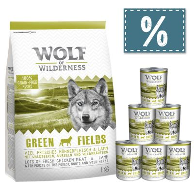 Wolf of Wilderness Adult 1 kg Trockenfutter + 6 x 400 g Nassfutter