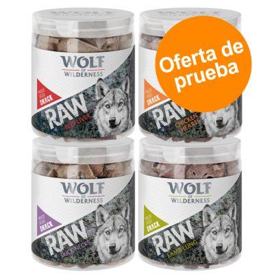 Wolf of Wilderness RAW snacks liofilizados - Pack de prueba mixto (4 tipos) - Pack mixto: pollo, vacuno, cordero y pato (300 g)