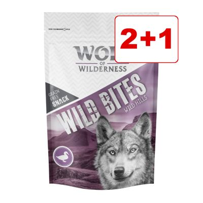 3 x 180 g Wolf of Wilderness Snack - Wild Bites : 2 + 1 kaupan päälle! - Wild Hills - ankka