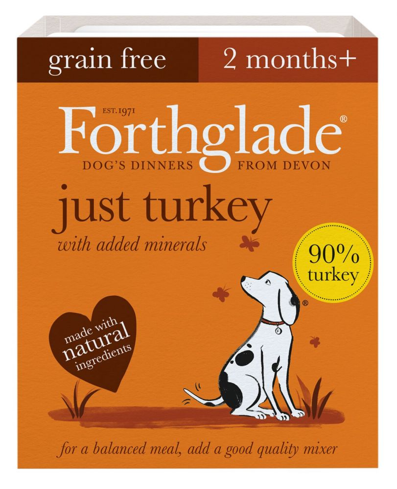 Forthglade Just Grain-Free Natural Wet Dog Food - Just Turkey - 18 x 395g