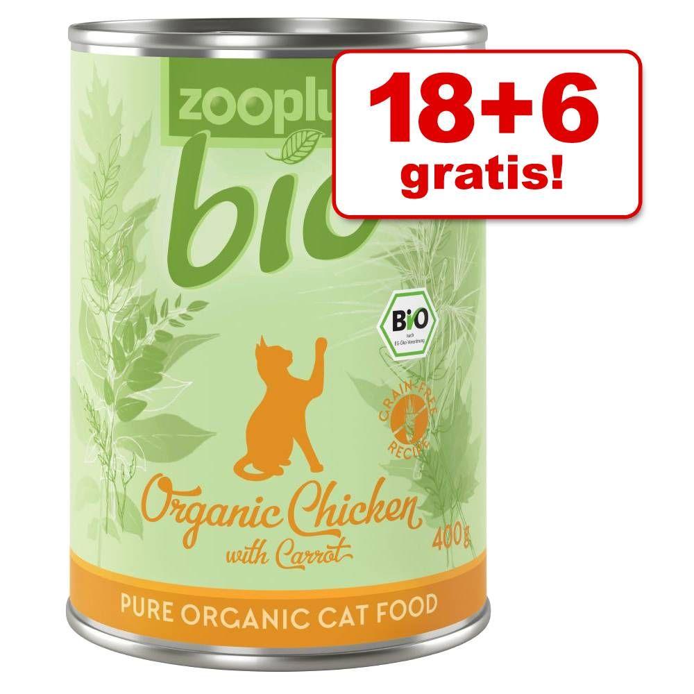 18 + 6 gratis! 24 x 400 g zooplus Bio - Bio Huhn mit Karotte