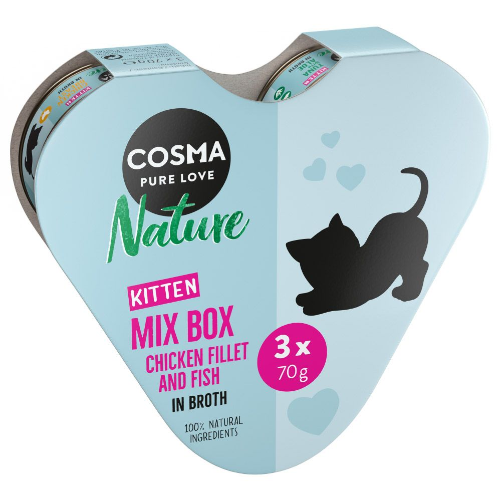 Cosma Nature Kitten Heart Box 3 x 70g