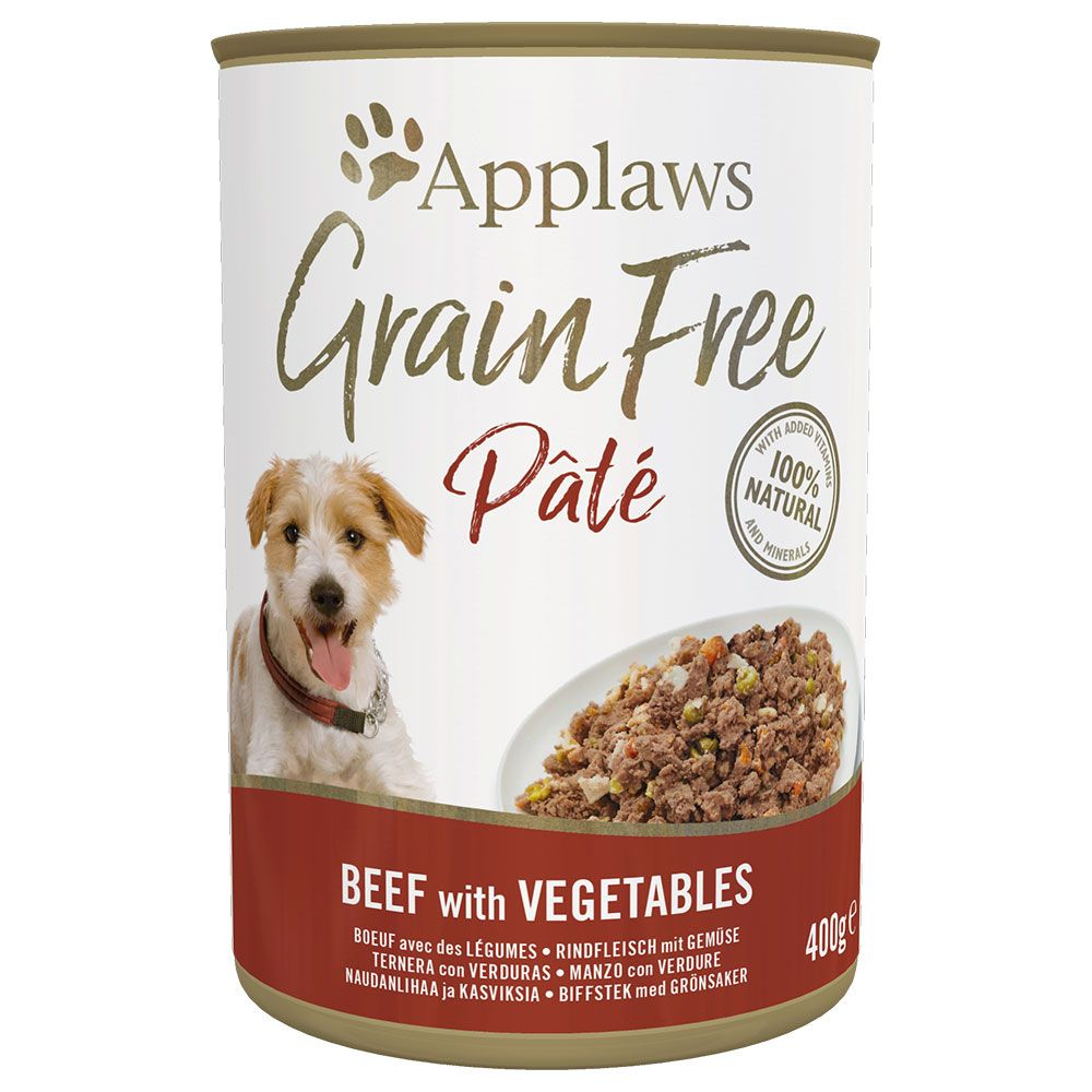 6x400g Turkey with Chicken & Vegetables Grain Free Pate Applaws Wet Dog Food