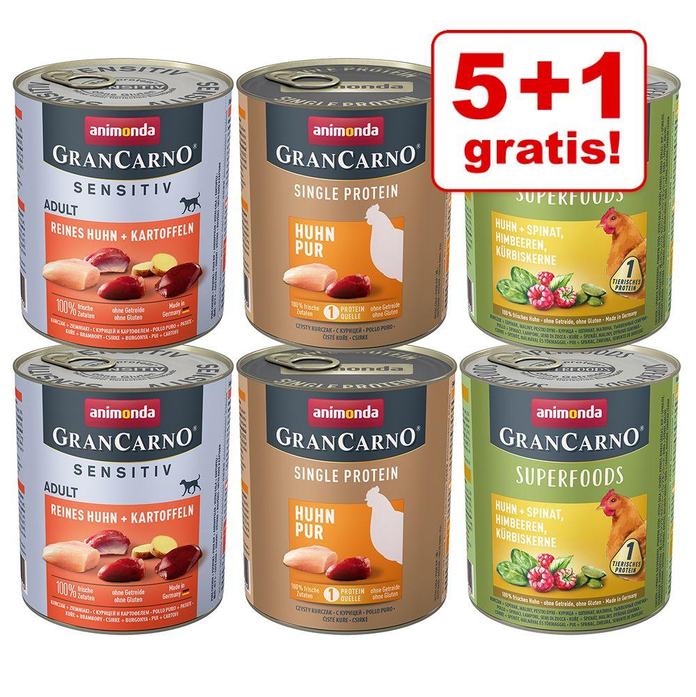 5 + 1 gratis! 6 x 800 g Animonda GranCarno Adult Monoprotein - Mix Rind