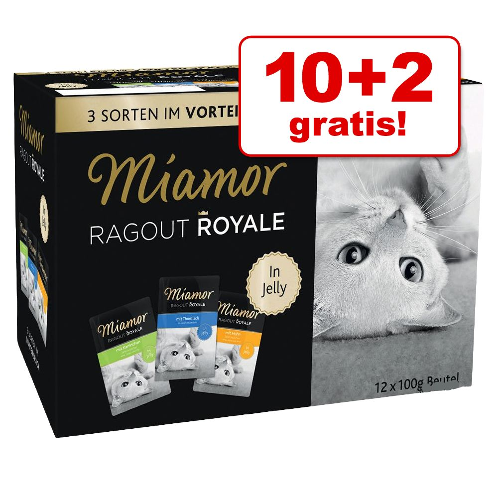 12 x 100 g Miamor Ragout Royale, Multi-Mix Sorten in Jelly II Pute, Lachs, Kalb